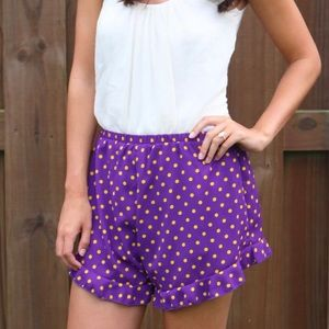 Purple and yellow polka dot shorts
